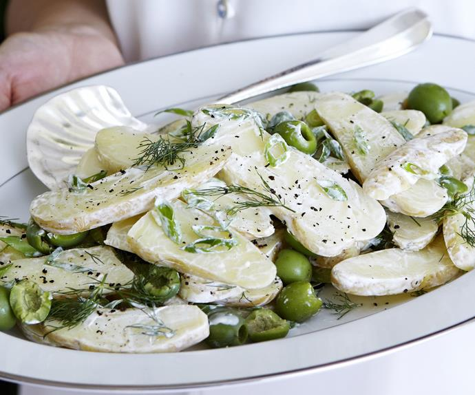 potato salad with green olives and dill