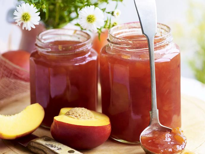 "**[Nectarine and orange blossom jam](https://www.womensweeklyfood.com.au/recipes/nectarine-and-orange-blossom-jam-5467|target=""_blank"")**"