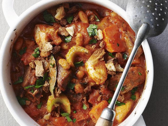 "**[Pork sausage cassoulet](https://www.womensweeklyfood.com.au/recipes/pork-sausage-cassoulet-5241|target=""_blank"")**"