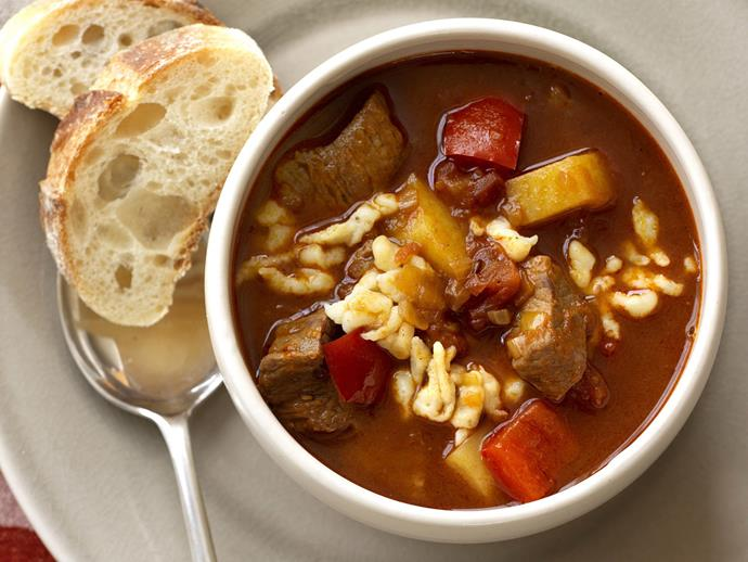 """Is it a soup or is it a stew? Somewhere in between, we think. In any event, this [Hungarian goulash](https://www.womensweeklyfood.com.au/recipes/hungarian-goulash-15482