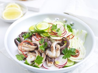 warm baby octopus salad