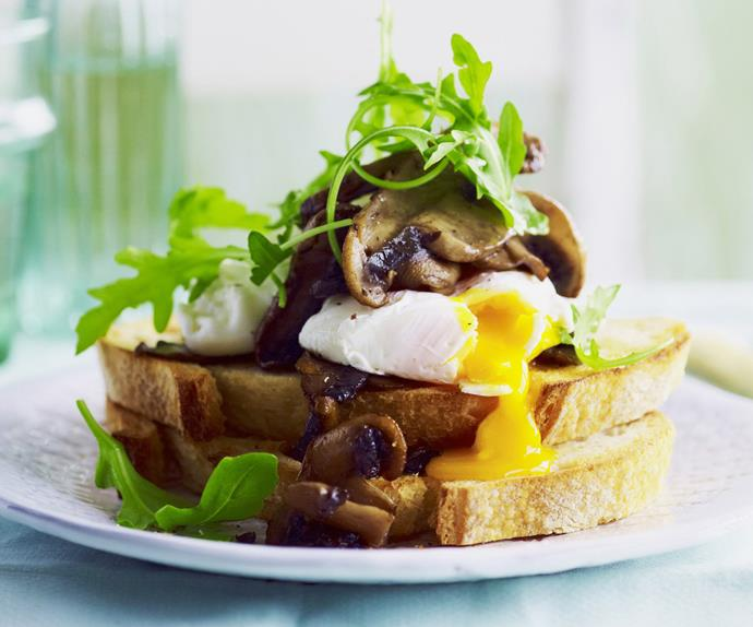 poached eggs and mushrooms