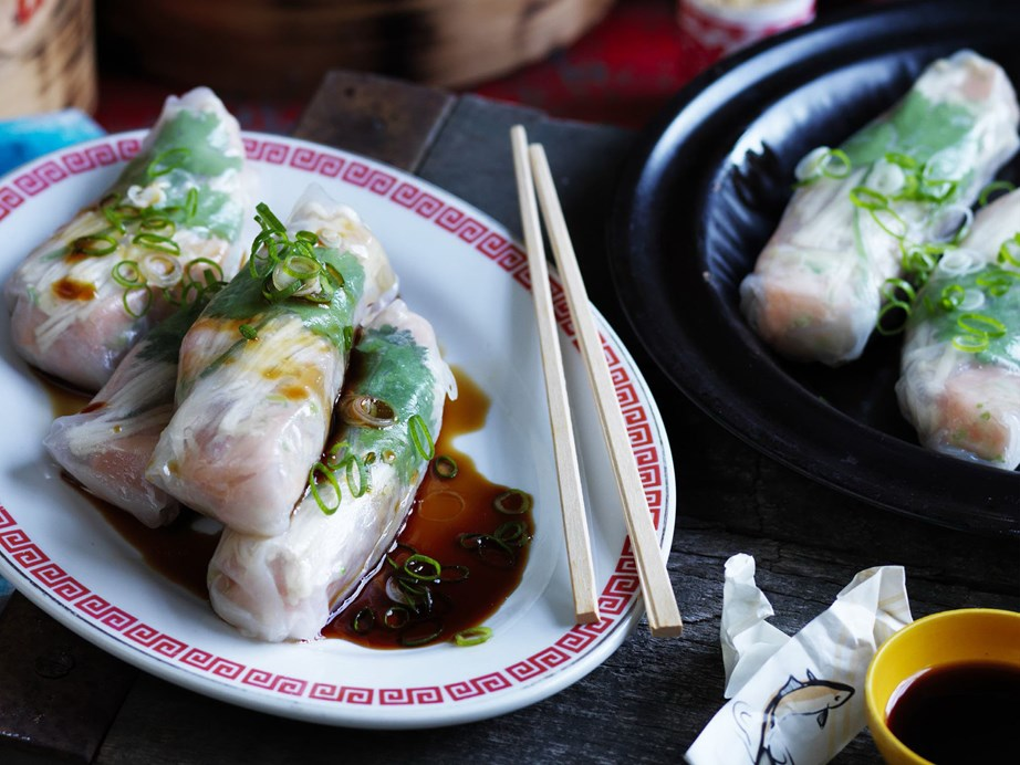 "**[Salmon and enoki mushroom steamed rice paper parcels](https://www.womensweeklyfood.com.au/recipes/salmon-and-enoki-mushroom-steamed-rice-paper-parcels-5305|target=""_blank"")**  Test out your chopstick skills with these sensations wraps."