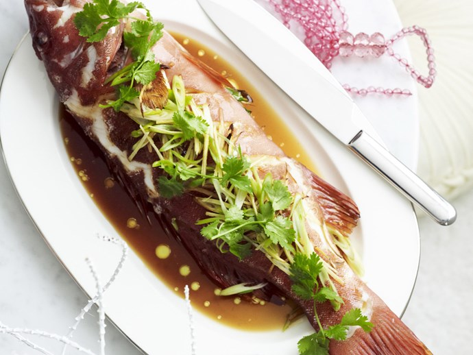 STEAMED FISH WITH GINGER and Green Onion Salad
