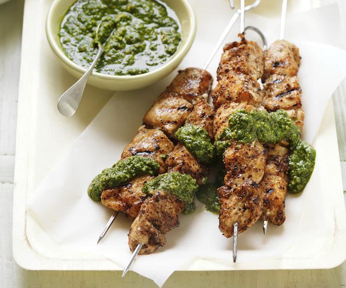 chilli coriander chicken kebabs with pesto