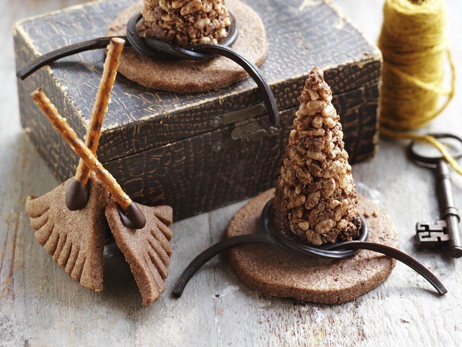 "**[Witches' hats and broomsticks](https://www.womensweeklyfood.com.au/recipes/witches-hats-and-broomsticks-12389|target=""_blank"")** <br><br> Get creative with biscuits, pretzels, chocolate, crackles and liqourice and whip up these witches' hats and broomsticks for your next Halloween or magic-themed party!"