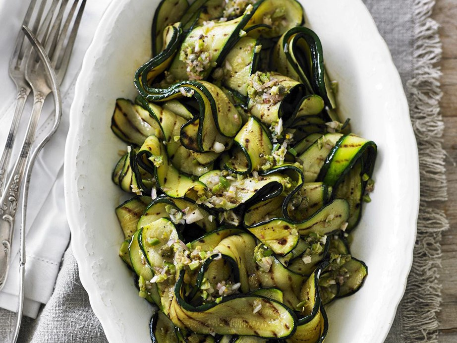 "**[Char-grilled zucchini salad](https://www.womensweeklyfood.com.au/recipes/char-grilled-zucchini-salad-12489|target=""_blank"")**"