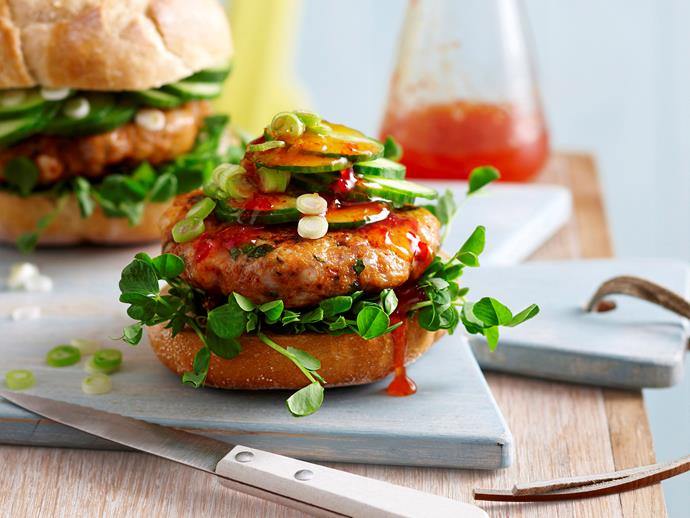 "**[Thai fish burger](https://www.womensweeklyfood.com.au/recipes/thai-fish-burger-6659|target=""_blank"")** Not your average burger, this version is made with Thai flavours and a fish patty."