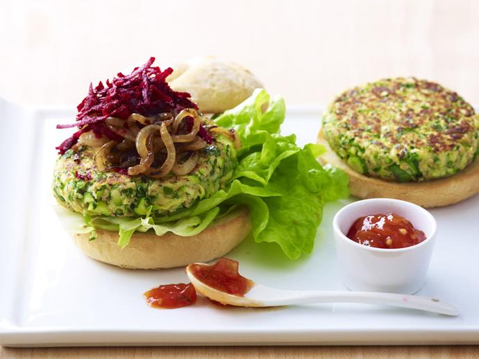 "**[Zucchini burger](https://www.womensweeklyfood.com.au/recipes/zucchini-burger-12496|target=""_blank"")** A healthy and vegetarian zucchini burger with beetroot and tomato relish."