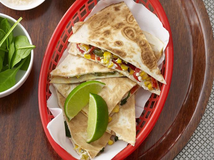 """*[Corn and goat's cheese quesadillas](https://www.womensweeklyfood.com.au/recipes/corn-and-goats-cheese-quesadillas-5186