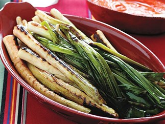 leeks and green onions with romesco sauce