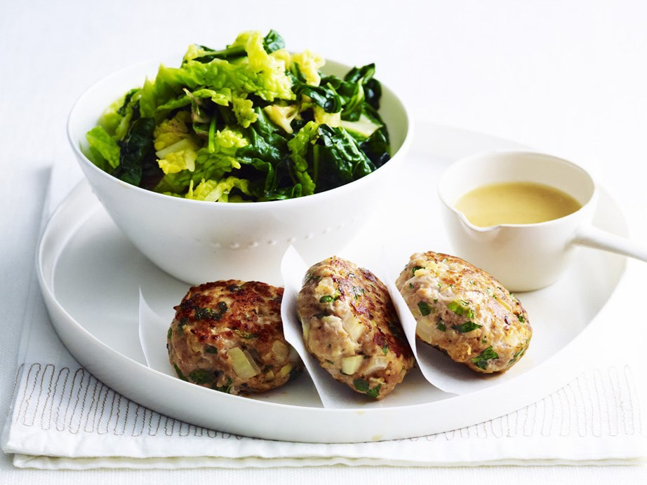 "**[Pork rissoles with peppered greens](https://www.womensweeklyfood.com.au/recipes/pork-rissoles-with-peppered-greens-5202|target=""_blank"")**"