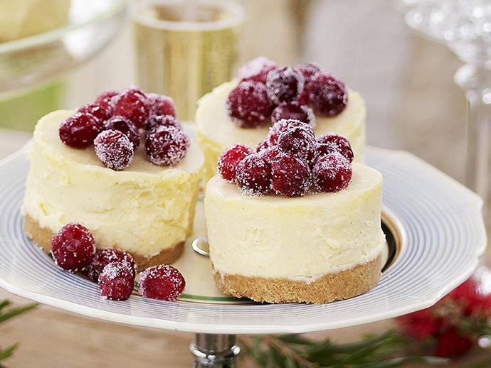 "**[White chocolate cheesecakes with frosted cranberries](https://www.womensweeklyfood.com.au/recipes/white-chocolate-cheesecakes-with-frosted-cranberries-12564|target=""_blank"")**"
