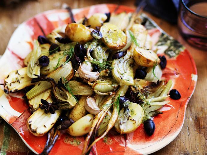 "**[Roasted baby parsnips, fennel and potatoes](https://www.womensweeklyfood.com.au/recipes/roasted-baby-parsnips-fennel-and-potatoes-5235|target=""_blank"")**  An exquisite side dish that goes perfectly with grilled haloumi and crusty bread."