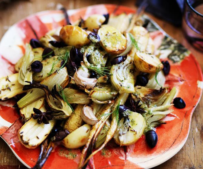 roasted baby parsnips, fennel and potatoes