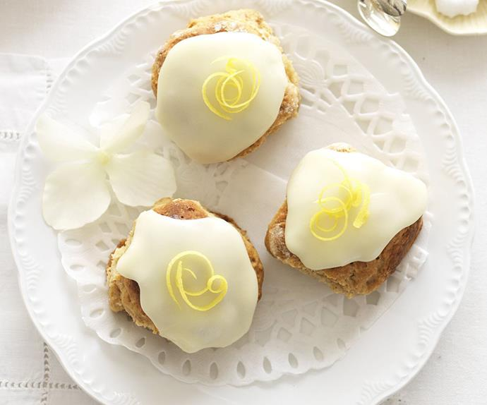 gingerbread scones with lemon glace icing