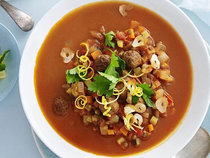 """**[Lentil and paprika meatball minestrone](https://www.womensweeklyfood.com.au/recipes/lentil-and-paprika-meatball-minestrone-12637 target=""""_blank"""")**  A healthy and delicious twist on the classic minestrone stew of Italian origin."""