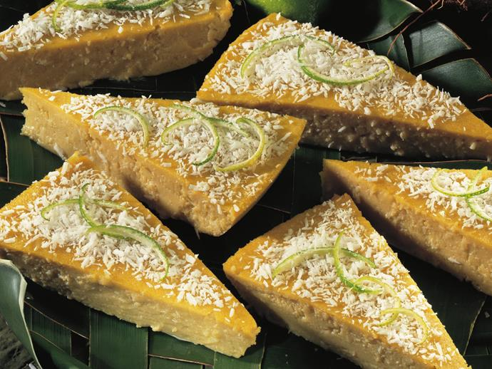 """Lightly perfumed with rose water, sprinkling long strips of lime zest over this [baked coconut custard tart](https://www.womensweeklyfood.com.au/recipes/coconut-rose-custard-12644 target=""""_blank"""") makes it even more aromatic."""