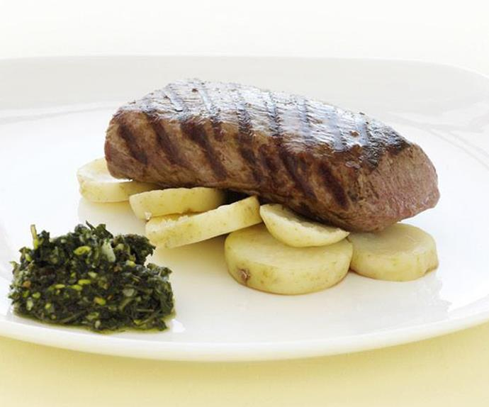 backstrap with mint pesto