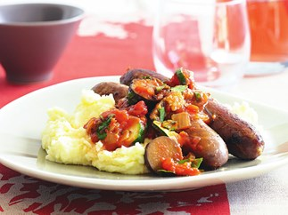 sausages with chunky tomato sauce
