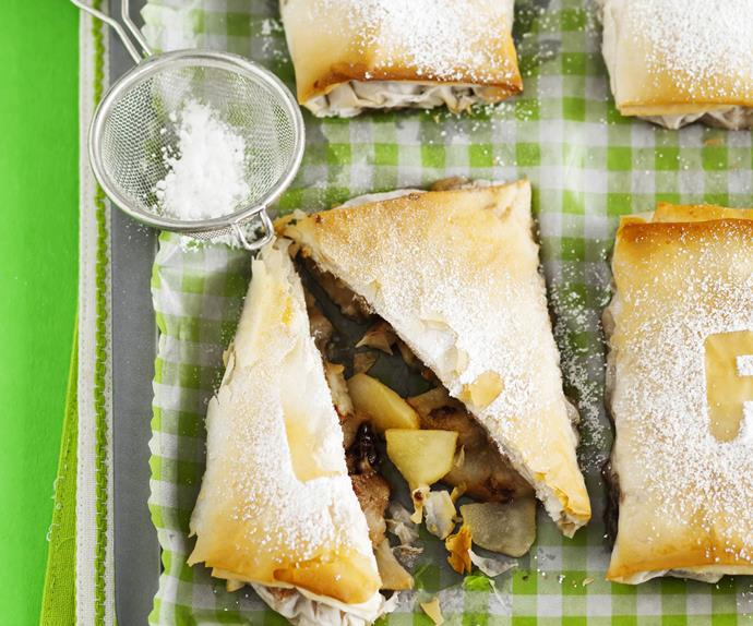 chocolate pear and hazelnut parcels