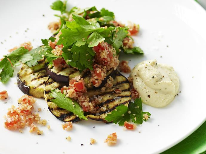 """**[Eggplant and tabbouleh stacks with chickpea puree](https://www.womensweeklyfood.com.au/recipes/eggplant-and-tabbouleh-stacks-with-chickpea-puree-12148