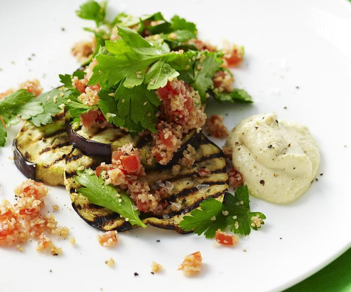eggplant & tabbouleh stacks with chickpea puree