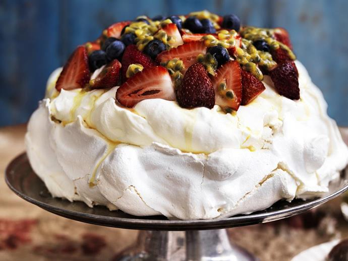 "**Pavlova with berries and cream** <br><br> Named after the Russian ballerina, the pavlova is a familiar and well loved Antipodean dessert. You can experiment with all kinds of fruit toppings, but berries and cream is always a winner. <br><br> [**Read the full recipe here**](https://www.womensweeklyfood.com.au/recipes/pavlova-with-berries-and-cream-15538|target=""_blank"")"