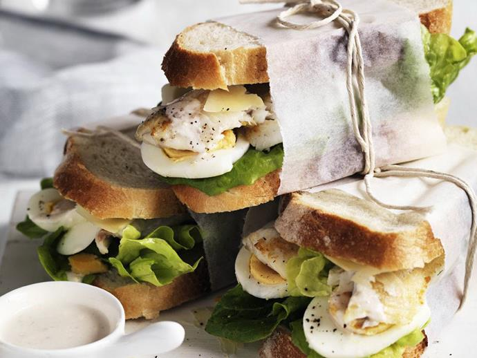 """**[Fish sandwiches with Caesar dressing](https://www.womensweeklyfood.com.au/recipes/fish-sandwiches-12169