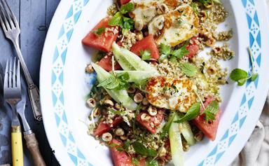 Watermelon tabbouleh with marinated haloumi