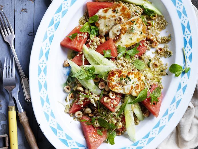 """**[Watermelon tabbouleh with marinated haloumi](https://www.womensweeklyfood.com.au/recipes/watermelon-tabbouleh-with-marinated-haloumi-12176