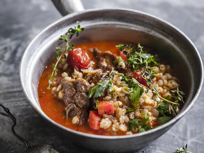 "**[Lamb and barley soup](https://www.womensweeklyfood.com.au/recipes/lamb-and-barley-soup-12181|target=""_blank"")**  This hearty winter soup is packed full of filling barley and tender lamb pieces to create a warming family dinner you'll want again and again."
