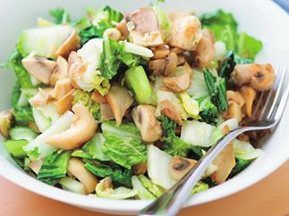 Stir-fried asian greens with mixed mushrooms