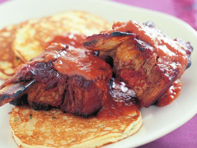 """**[Barbecued short ribs and potato pancakes](https://www.womensweeklyfood.com.au/recipes/barbecued-short-ribs-and-potato-pancakes-12197