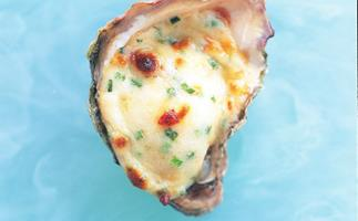 oysters with chive Bechamel