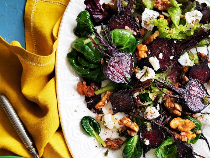 """**[Salad of roasted beetroot with goat's cheese and walnuts](https://www.womensweeklyfood.com.au/recipes/salad-of-roasted-beetroot-with-goats-cheese-and-walnuts-12223