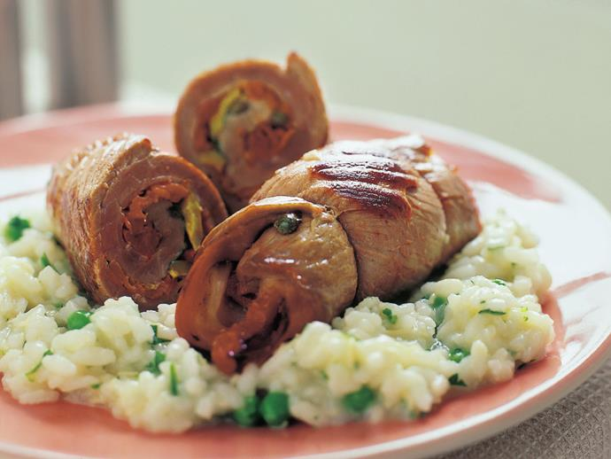 """**[Veal braciole with rice and peas](https://www.womensweeklyfood.com.au/recipes/veal-braciole-with-rice-and-peas-12232
