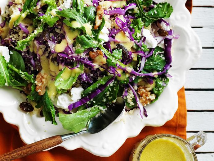 "**[Couscous, red cabbage and walnut salad](https://www.womensweeklyfood.com.au/recipes/couscous-red-cabbage-and-walnut-salad-12236|target=""_blank"")**"