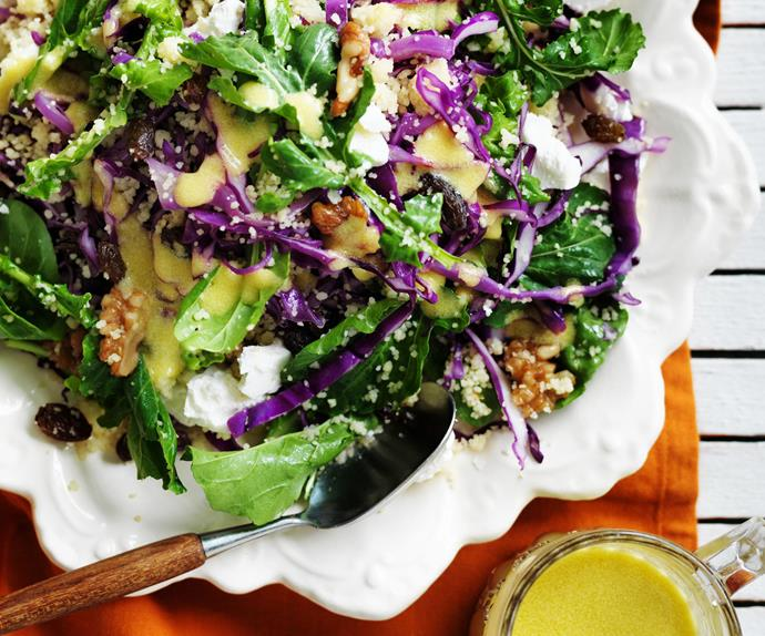 couscous, red cabbage and walnut salad