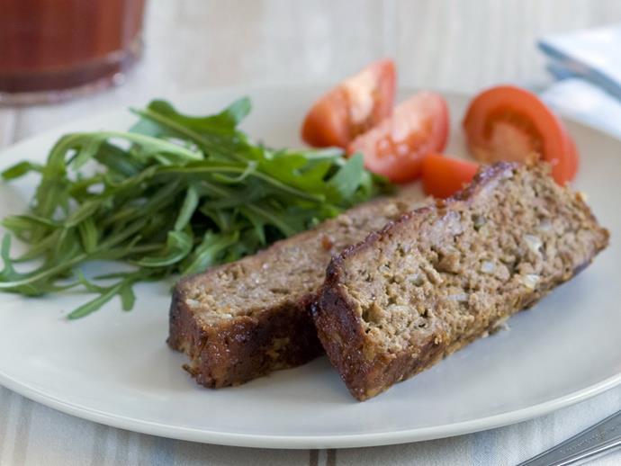 "**[Savoury-glazed meatloaf](https://www.womensweeklyfood.com.au/recipes/savoury-glazed-meatloaf-5103|target=""_blank"")**"