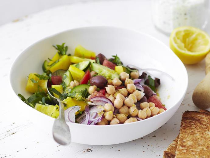 "**[Chickpea salad](https://www.womensweeklyfood.com.au/recipes/chickpea-salad-12275|target=""_blank"")**"