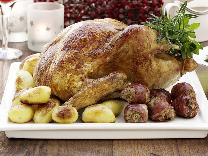 "**[Turkey with prosciutto-wrapped seasoning balls](https://www.womensweeklyfood.com.au/recipes/turkey-with-prosciutto-wrapped-seasoning-balls-12277 target=""_blank"")**"