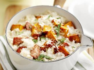 pumpkin and chorizo risotto