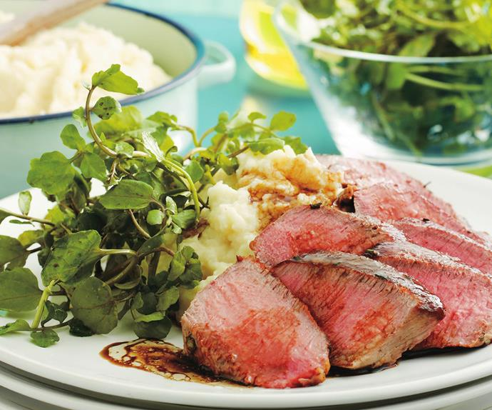 backstrap with celeriac mash and watercress