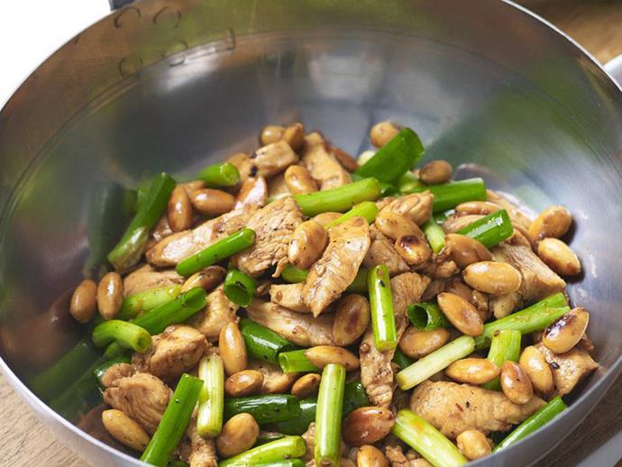 "**[Almond & chilli chicken stir-fry](https://www.womensweeklyfood.com.au/recipes/almond-and-chilli-chicken-stir-fry-16547|target=""_blank"")**"