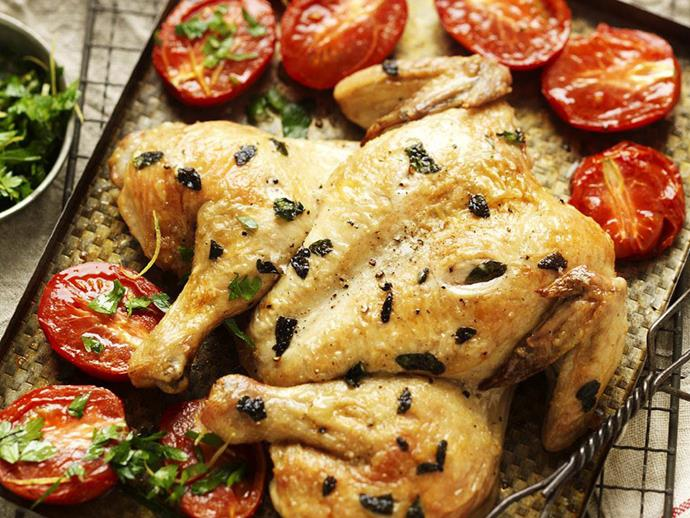 "**[Roast chicken with gremolata](https://www.womensweeklyfood.com.au/recipes/roast-chicken-with-gremolata-4938|target=""_blank"")**"