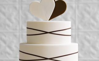 Chocolate & ivory hearts cake