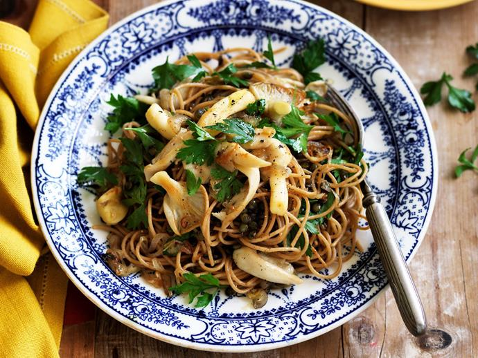 "**[Wholemeal spaghetti with green lentils, mushrooms and parsley butter](https://www.womensweeklyfood.com.au/recipes/wholemeal-spaghetti-with-green-lentils-mushrooms-and-parsley-butter-11858|target=""_blank"")**  Keep healthy and satisfied with this wholemeal spaghetti with green lentils, mushrooms and parsley butter."