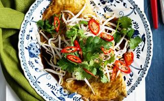 asian-style omelettes with glass noodles