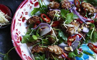 CRISP POR and rice ball salad